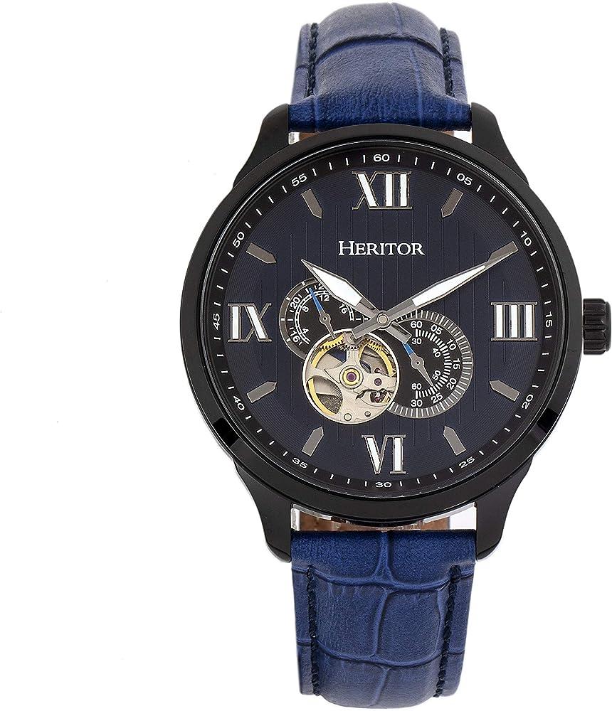 Heritor,orologio automatico per uomo, in acciaio inossidabile 316 l,cinturino in vera pelle di coccodrillo HERHR9005