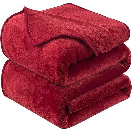 HOZY Plaid Couverture Polaire Epaisse 220x240cm Rouge Doux et Chaude - 350GSM Couverture de Lit 2 Personnes et Plaid Canapé Flanelle - Réversible Double Face