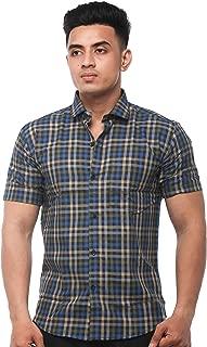 JPF Smart Stewart Mens Cotton Regular Fit Formal Half Sleeve Shirt with Pocket Colorful Summer Casual Clothing (Black)