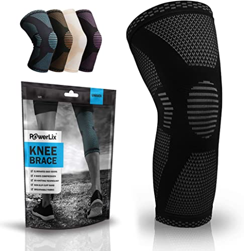 PowerLix Compression Knee Sleeve - Best Knee Brace for Meniscus Tear, Arthritis, Quick Recovery etc. - Knee Support F...