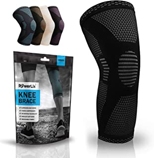 PowerLix Compression Knee Sleeve - Best Knee Brace for Meniscus Tear, Arthritis, Quick Recovery etc. - Knee Support For Ru...