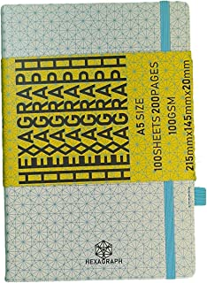 Hexagraph A5 Notebook 100GSM, 200 Pages, 100 Sheets, 2 Pen Holder, With Pocket