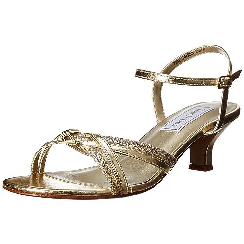 d7cd3a81117 David s Bridal Melanie Metallic Low Heel Quarter Strap Sandals Style 896