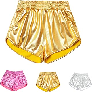 HIGOFASHION Women's Metallic Shiny Shorts Sparkly Rave Yoga Hot Short Booty Outfits Pants