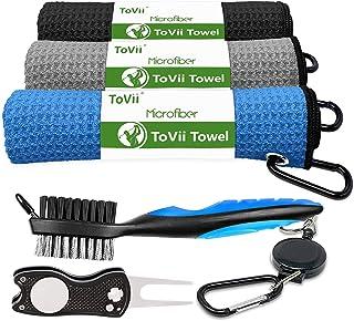 حوله گلف ToVii حوله گلف Microfiber Waffle Pattern | جعبه ابزار قلم مو با تمیز کننده Club Groove | ابزار Divot Golf | لوازم جانبی گلف برای آقایان