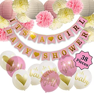 Baby Shower Decorations For Girl - Girl Baby Shower Decorations: It's a Girl & Baby Shower Banner, Baby Girl Shower Decorations Kit with Banners, Balloons, Pom Poms and Lanterns - Pink, Gold & White (28 Pieces)