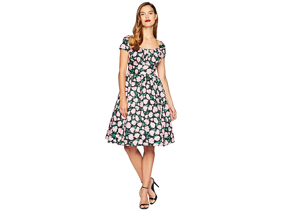 Unique Vintage Cap Sleeve Valencia Swing Dress (Black/Pink Roses) Women