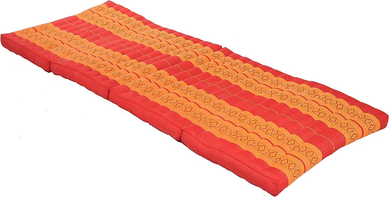 Handelsturm Kapok Matte, Thai Klappmatte ca. 200x80 cm, Thaimatte mit Füllung aus Kapok, Thaikissen Matratze Orange und rot, Faltmatratze