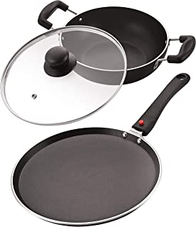 NIRLON Celebrino Heavy Guage 4mm Thick Aluminum Cookware Set 2 Pieces Nonstick Tawa & Kadai for Induction/Electric/Cerami...