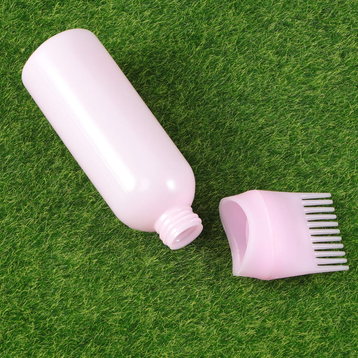 Minkissy 3pcs Hair Dye Bottle Root Comb Applicator Dispensing with Graduated Scale Salon Hair Coloring, Dye and Scalp Treament Essential (White Purple Pink)