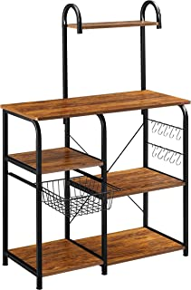 "Mr IRONSTONE Vintage Kitchen Baker's Rack Utility Storage Shelf 35.5"" Microwave Stand 3-Tier+4-Tier Shelf for Spice Rack Organizer Workstation with 10 Hooks"
