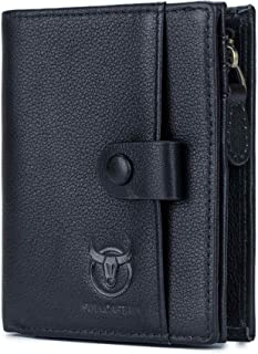 Leather Wallet for Men,RFID Blocking Bifold Multi Card Large Capacity Travel Wallets with ID Window (Black)