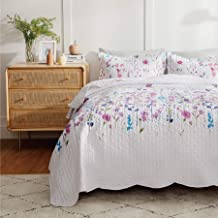 Bedsure Quilt Bedspreads Queen Size Coverlet, Quilts Queen Size Clearance, Lilac Flower Lightweight Pattern, 1 Quilt and 2 Shams