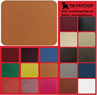 TMpatchup Genuine Leather and Vinyl Repair Patches Kit, Grain Self Adhesive Leather, Multiple Colors and Sizes Available (Brown Tan, 8'' x 11'')