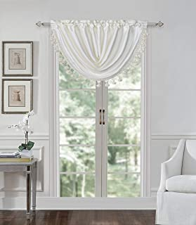 All American Collection Hotel Living Room Premium Curtain Sheer Panel Swag Window Treatment Available in Different Styles & Colors (Valance, Ivory)