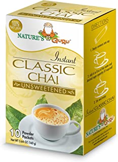 Nature's Guru Instant Classic Chai Tea Drink Mix Unsweetened 10 Count Single Serve On-the-Go Drink Packets