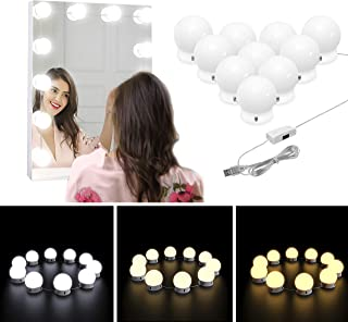 Nicewell Vanity Mirror Lights Adjustable Dimmable 3 Colors 10 LED Hollywood Style Makeup Kit USB Power Supply Plug DIY for Dressing Table Bathroom Wall Mirror Lighting (Mirror not Included)