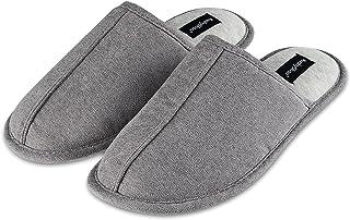 KushyShoo Men's Slippers, Anti-Slip Lightweight Flat, Cotton Cozy Indoor House Slipper