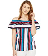 Vince Camuto - Del Rio Stripe Off Shoulder Ruffled Blouse