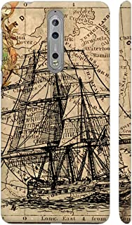 Colorpur Ships Drawing On Map Printed Back Case Cover for Nokia 8