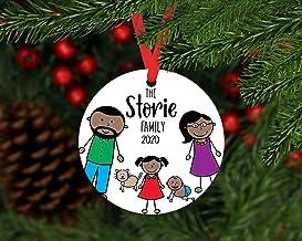 Christmas Xmas Decor 2020 Ornament Black Family Xmas Ornament Personalized, 2020 Black Family Ornament with Pets, Cartoon ...