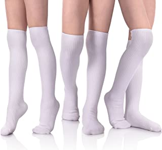 HERHILLY School Uniform Classic Cable Cotton Over Knee-high Socks for Big Girls Solid Colors Stylish Boot Socks 3 Pack