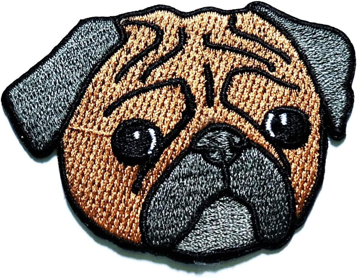 Nipitshop Patches Pug Tampa Mall Dog Patch Cartoon face Max 77% OFF Kids Sad Embroi