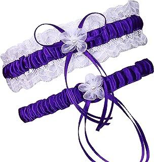 LAVENDER PURPLE BRIDAL Garter Floral Garter Keepsake Garter Set Lace Garters Prom Garter Fancy Garters Lace Garter Belt