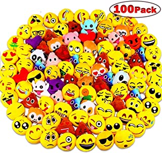 Emoji Party Favors, Dreampark Emoji Keychain 100 Pack Mini Plush Carnival Prizes for Kids Christmas Birthday Party Supplies Treasure Box Shool Prize Chest Treat for Classroom Bulk Toy Assortment