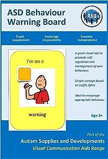 Autism Supplies And Developments Tablero de advertencia de comportamiento visual ASD de plástico A4 (símbolos de comunicac...