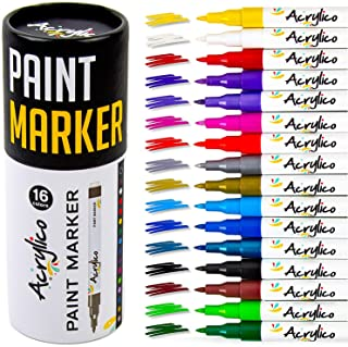 Acrylico Set of 16 Colors Acrylic Paint Markers. Extra Fine Tip Paint Pens for Rock Painting, Canvas, Ceramic, Wood, Glass...