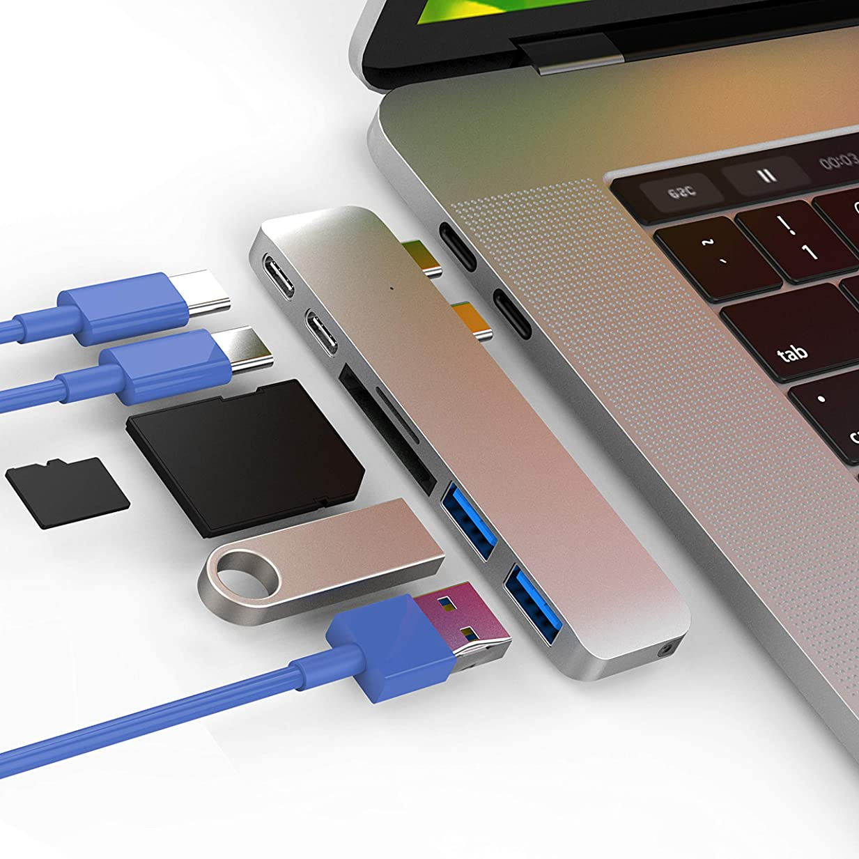 CharJenPro アップルMacBook Proの2016年と2017年のためのmacstickアダプタ/ハブを認定 - 40ギガバイト/秒落雷3ポート5K @ 60Hzの、USB-Cデータポート、2 USB 3.0、SDやマイクロSDカードリーダー(シルバー) 銀