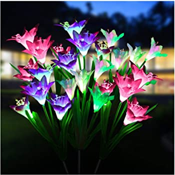 3x Outdoor Garden LED Stake Lights Color-changing Flower Lamps 63cm Height