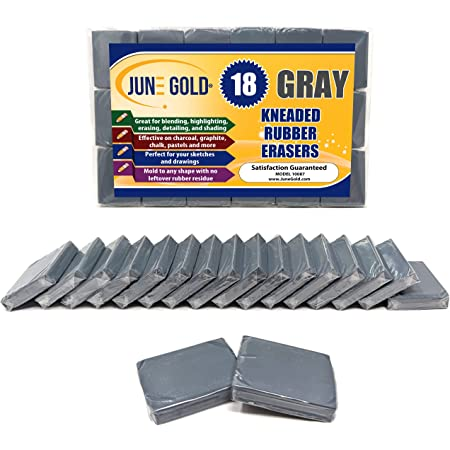 June Gold Kneaded Rubber Erasers, Gray, 18 Pack - Blend, Shade, Smooth, Correct, and Brighten Your Sketches and Drawings