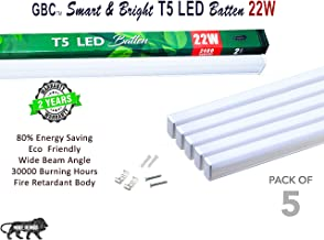 GBC Fixture Batten, 22W LED Integrated, 2400 lm Lumens, 6500K Daylight, Power factor :>0.9, Ta:50'C TC:75'C, Input 220-240V 50-60 HZ, Ceiling Tube Light with Brackets Milky Cover, Cool White -Pack-5