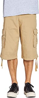 Fitscloth Mens Casual Twill Cotton Cargo Shorts Relaxed Fit Multi Pocket Pants with Belt Regular Big Sizes