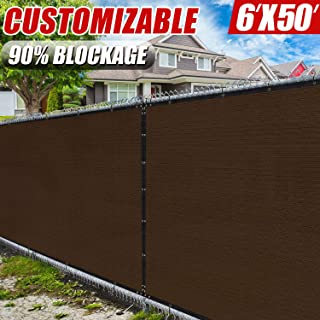 Amgo 6' x 50' Brown Fence Privacy Screen Windscreen,with Bindings & Grommets, Heavy Duty for Commercial and Residential, 90% Blockage, Cable Zip Ties Included, (Available for Custom Sizes)