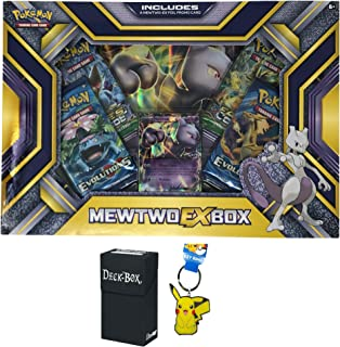 Pokemon Mewtwo EX Box with Mewtwo EX Pokemon Card, Oversized Jumbo Mewtwo EX Card, 4 Factory Sealed Pokemon Booster Packs Bundle with Pikachu Keychain and Ultra Pro Deck Box - 3 Items