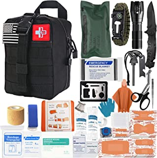 [2021 Upgrade] Emergency Survival First Aid Kit Medical Reinforcement Type Outdoor Tactical Gear Set Trauma Bandage Hiking Safety Set for Boat Car (Black)
