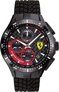 Ferrari Men's Race Day Stainless Steel Quartz Watch with Silicone Strap, Black, 22 (Model: 0830696)