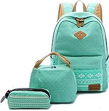 BLUBOON Teens Backpack Set Canvas Girls School Bags Bookbags 3 in 1 (Water blue-03)
