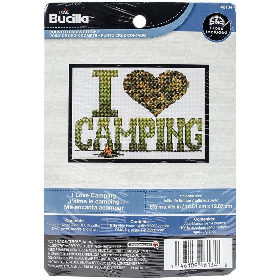 Bucilla My 1st Stitch Counted Cross Stitch Kit (5 by 7-Inch), 46134 I Love Camping