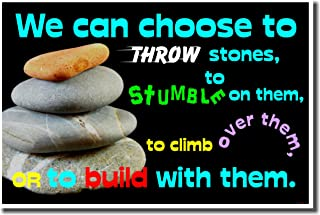 We Can Choose to Throw Stones - Classroom Motivational Poster