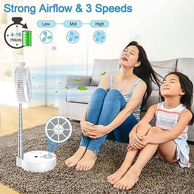 TDONE Foldaway Oscillating Table Fan with Remote Control, 7200mAH Rechargeable Portable Standing Fan Folding Misting Fan Tele