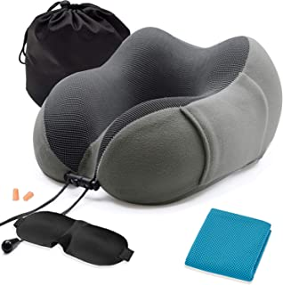 Travel Pillow and Cooling Towel, Memory Foam Neck Pillow, Comfortable & Breathable Cover, Machine Washable, Airplane Travel Kit with 3D Contoured Eye Masks, Earplugs, and Luxury Bag, Standard, Gray