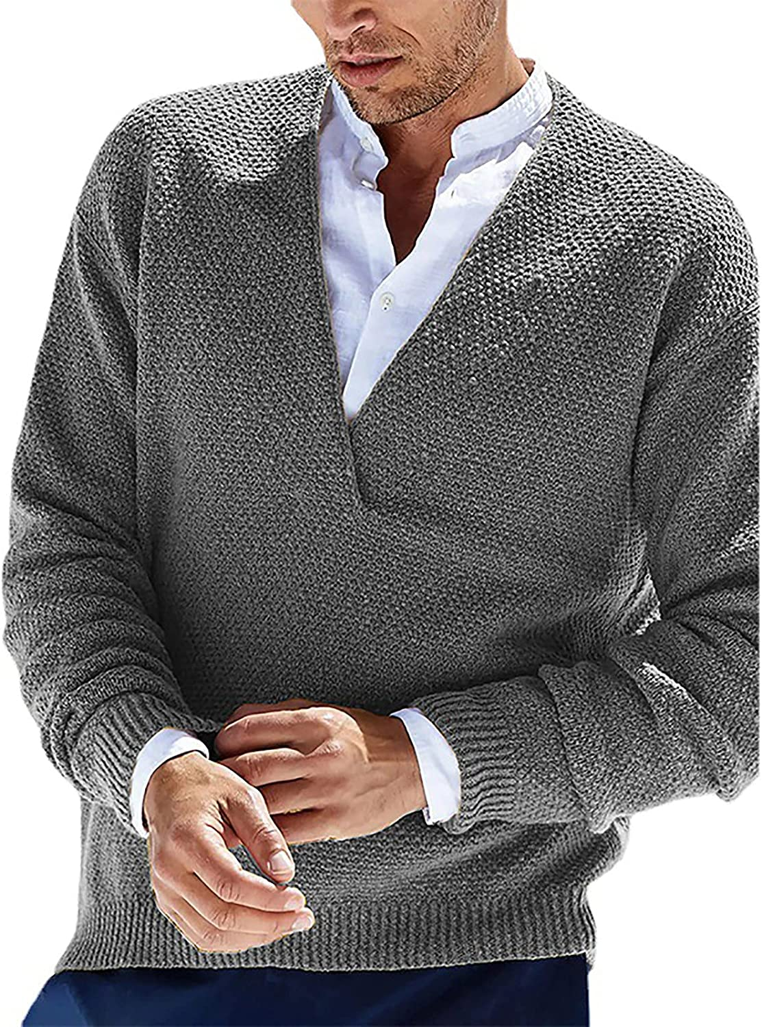 Men's Knitted Cardigan Sweaters V Neck Solid Color Long Sleeve Knitwear with Pockets Pullover Sweater for Men