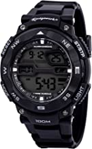 Konigswerk Mens 100M Waterproof Alarm LCD Dual Time Chronograph Black Band Military Sport Watch AQ202904G