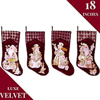 Embroidered Farmhouse Christmas Stockings Set of 4 in Velvet Burgundy   Family and Kids Holiday Stockings with Santa and Snowman Appliqué Designs   Christmas Decorations Indoors   18