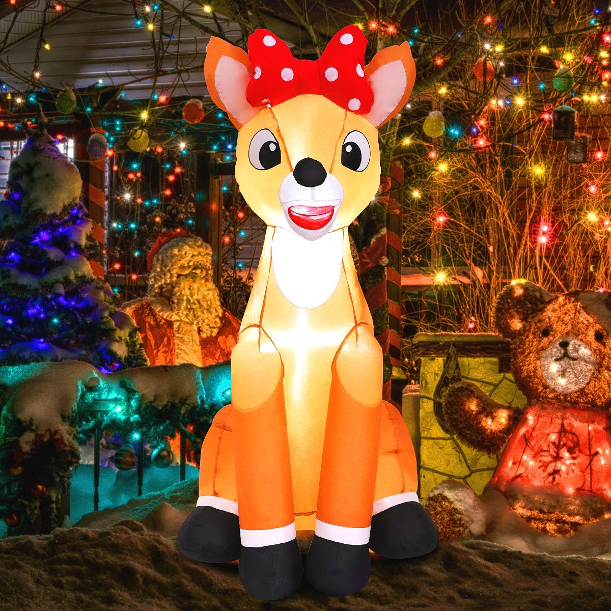 Maoyue Christmas Inflatables 4ft Christmas Reindeer Decorations Outdoor Inflatable Blow Up Christmas Decorations Built In Led Lights With Tethers Stakes For Outdoor Yard Roof Lawn Amazon Com Au Lawn Garden
