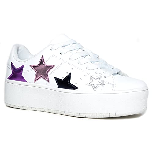 30ba9bf6ba8 J. Adams Platform Lace up Sneaker - Casual Chunky Walking Shoe - Easy  Everyday Fashion